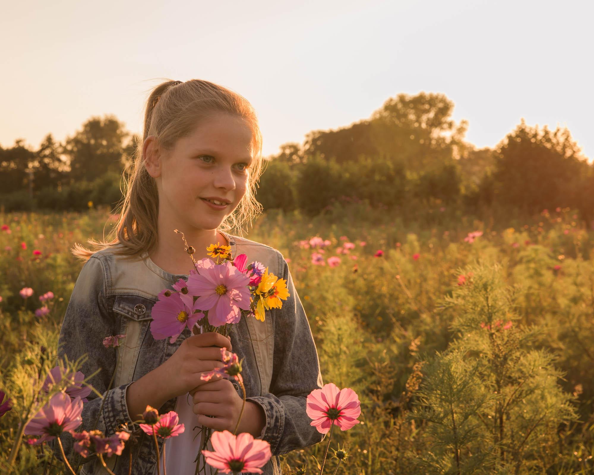 kinderportret van jong meisje met bermbloemen in gouden zonlicht door mayrafotografie