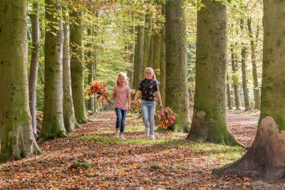 foto van 2 zusjes met herfst takken in het bos door mayrafotografie