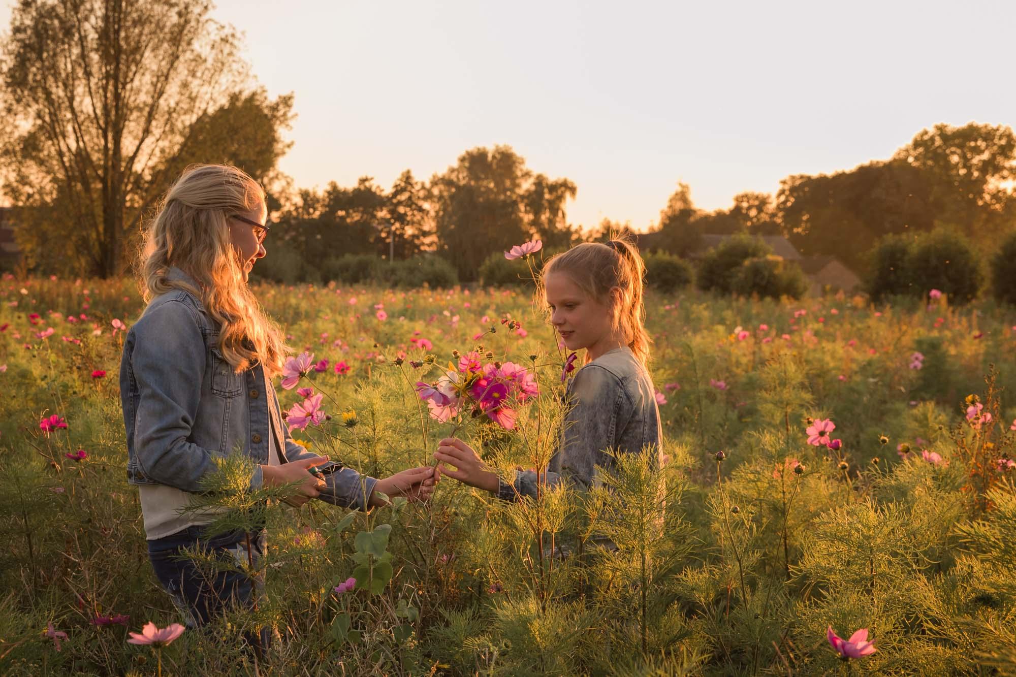 portret van 2 zusjes in veld met bermbloemen door mayrafotografie