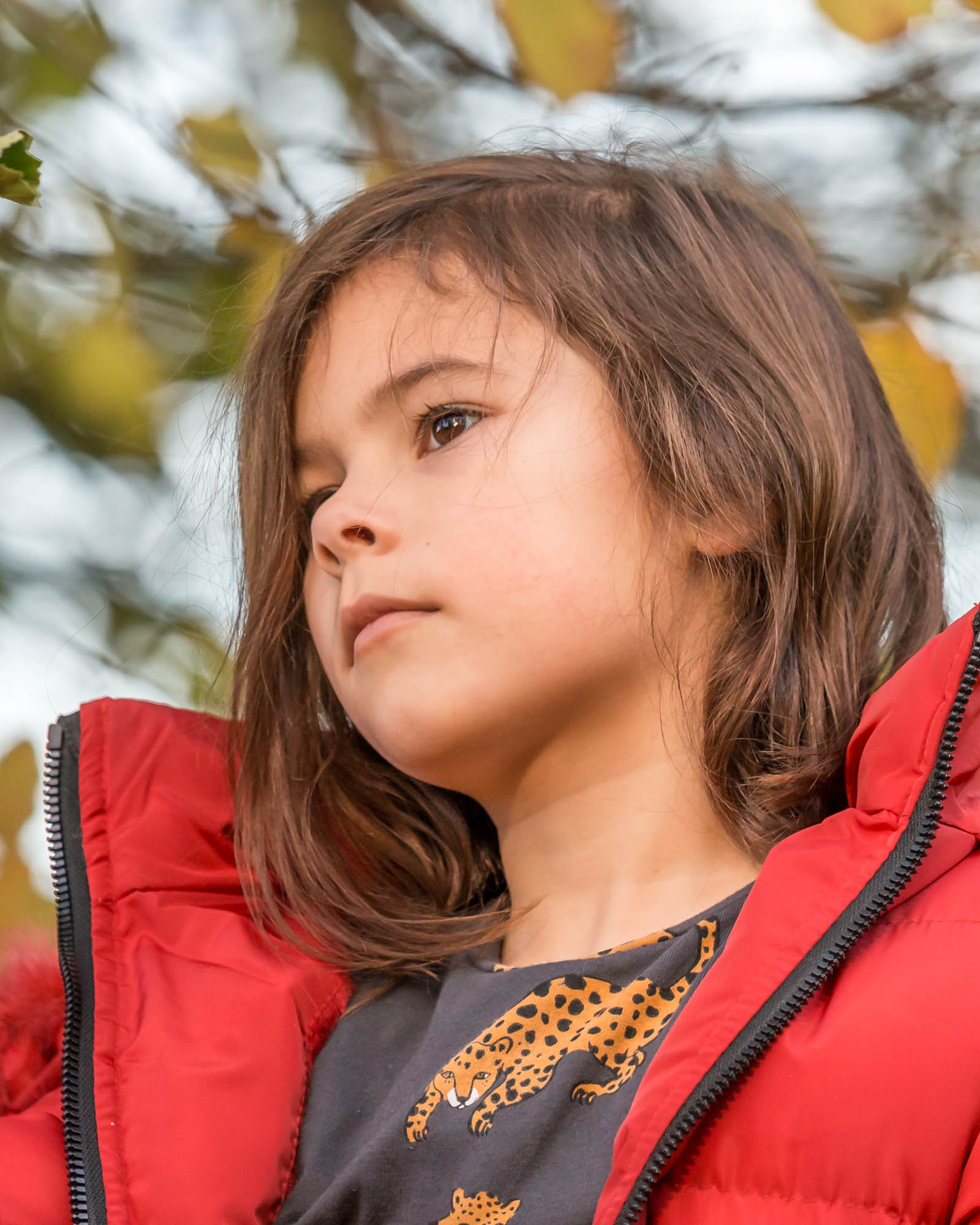 herfst portret van starend kind door mayrafotografie